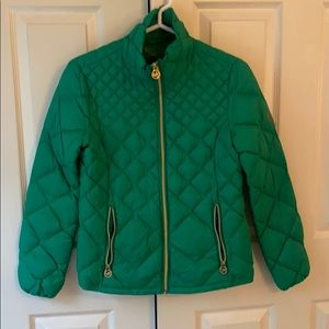 Michael Kors diamond quilted green down jacket
